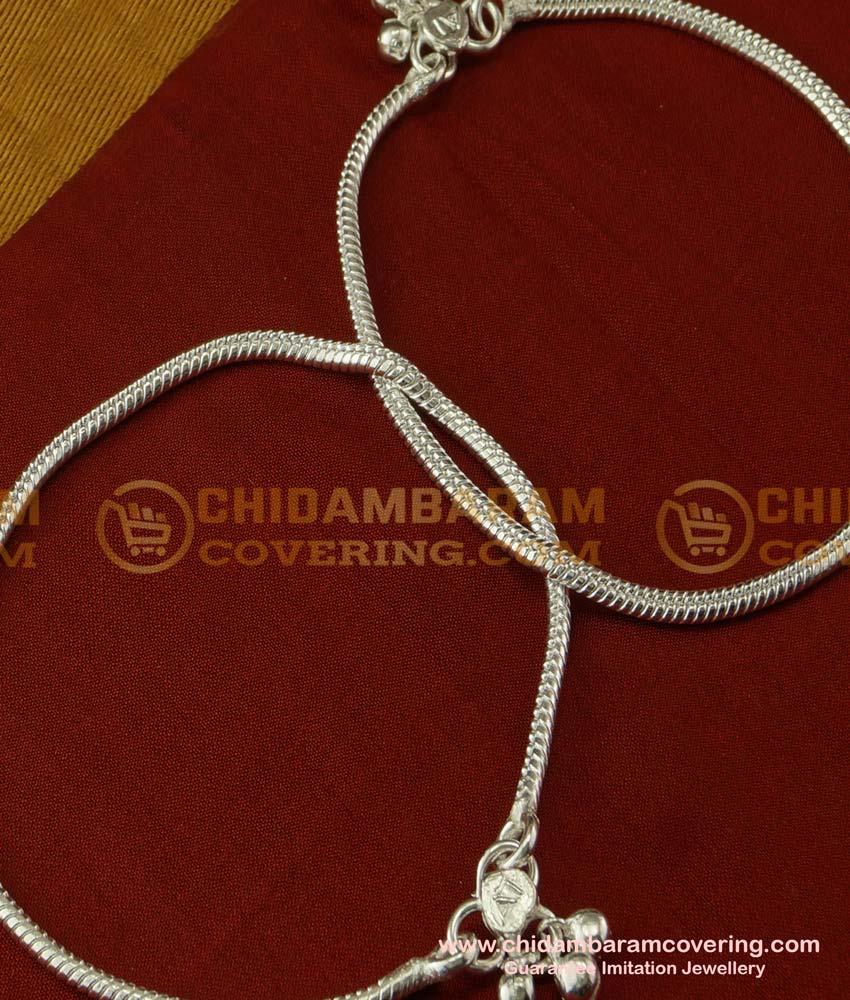 ANK024 - Beautiful Silver Like White Metal Plain Chain Anklet Velli Kolusu White Metal Payal Online