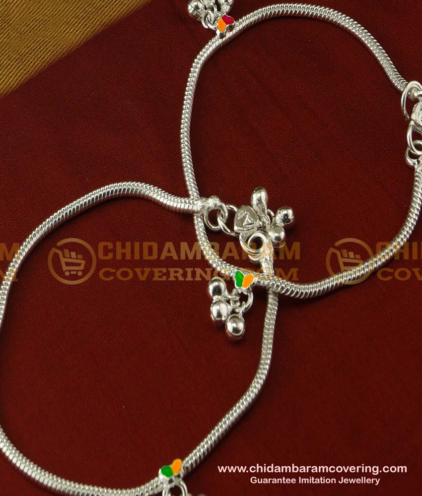 ANK025 - Trendy Colour Paint Silver Like White Metal Anklet White Metal Anklet Online Shopping