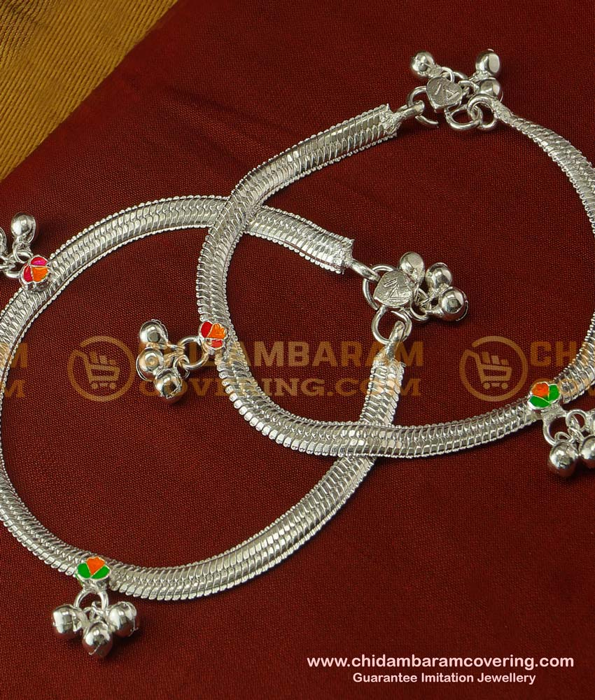 ANK027 - Artificial Silver Plated White Metal Anklet Velli Padasaram Design For Women