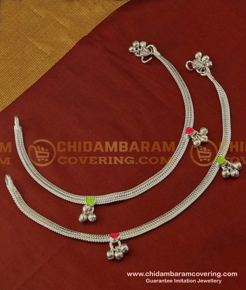 ANK029 - Buy Artificial Silver Coated Flat Chain Anklet Design Anklet Buy Online Shopping