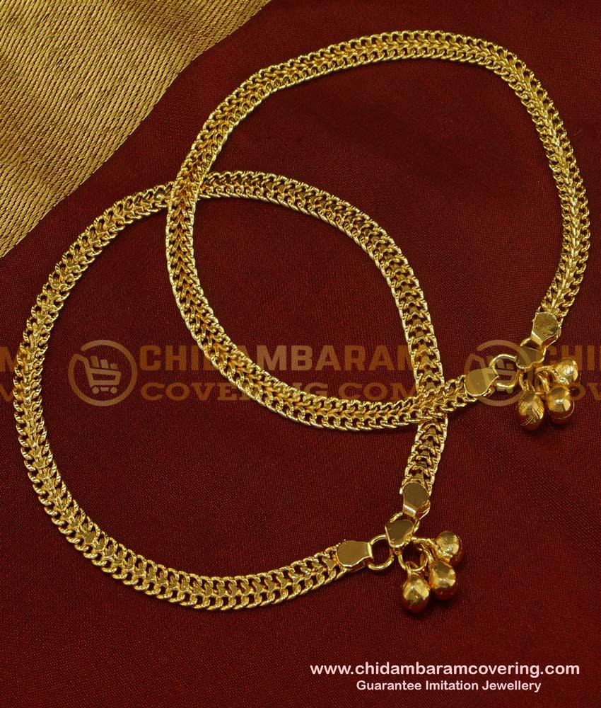 ANK033 - 11.5 Inch Bridal Wear Thick Chain Design Gold Anklet Kolusu Design for Women