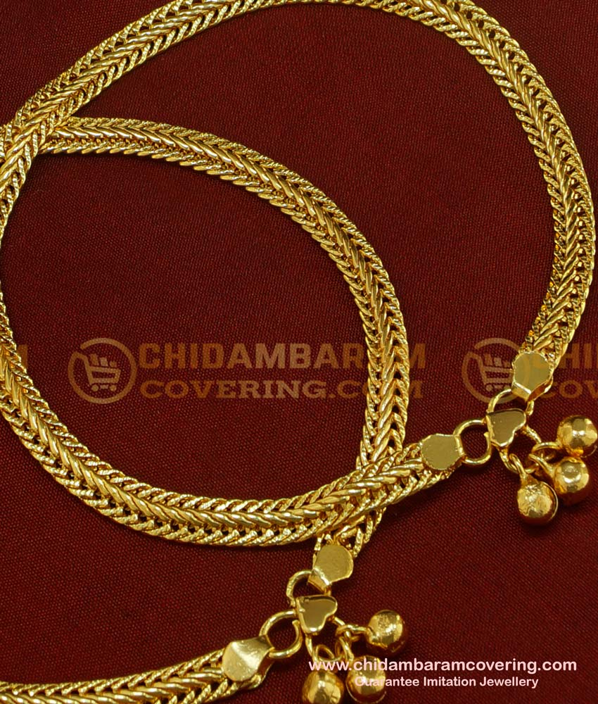 ANK034 - 10.5 Inch One Gram Gold Plated Flexible Chain Anklet Padasaram Design Buy Online