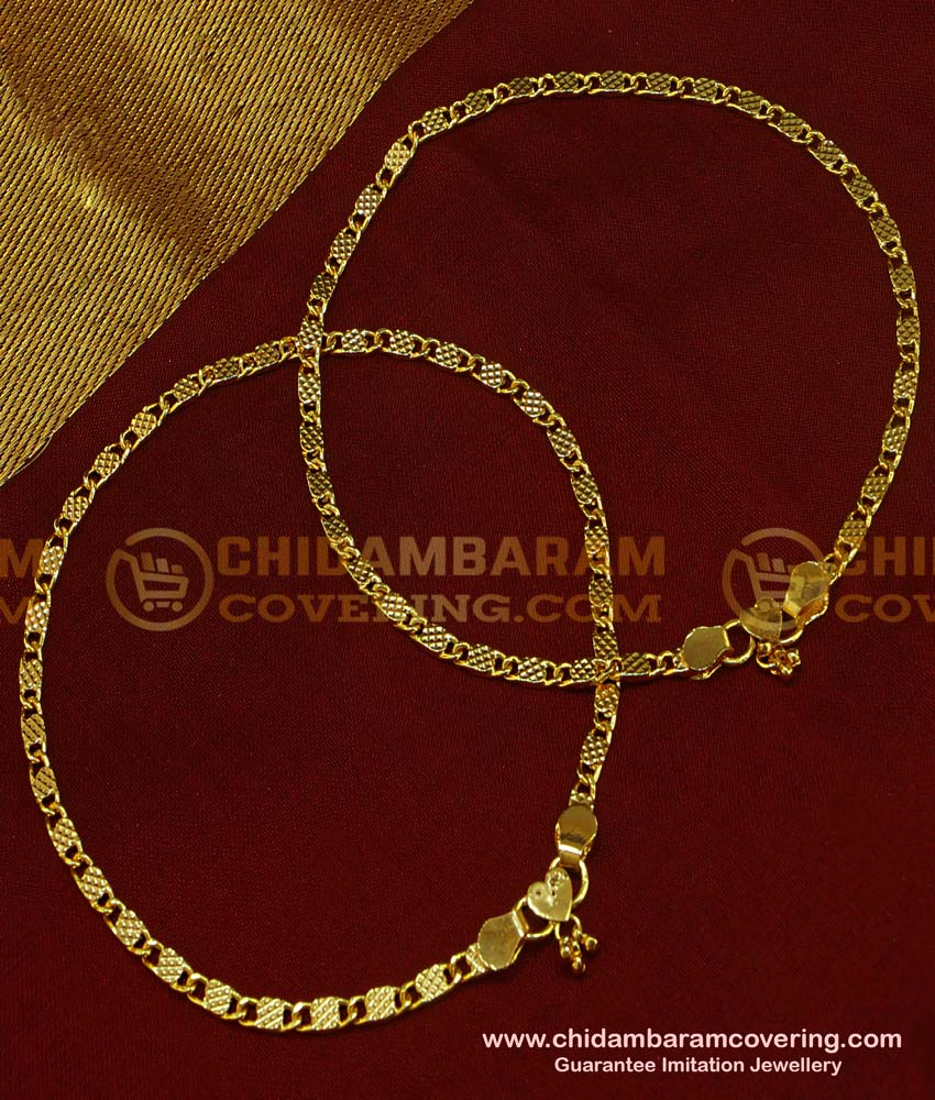 ANK035 - 11 Inch Trendy Light Weight Indian Daily Wear New Payal Design One Gram Jewellery Online