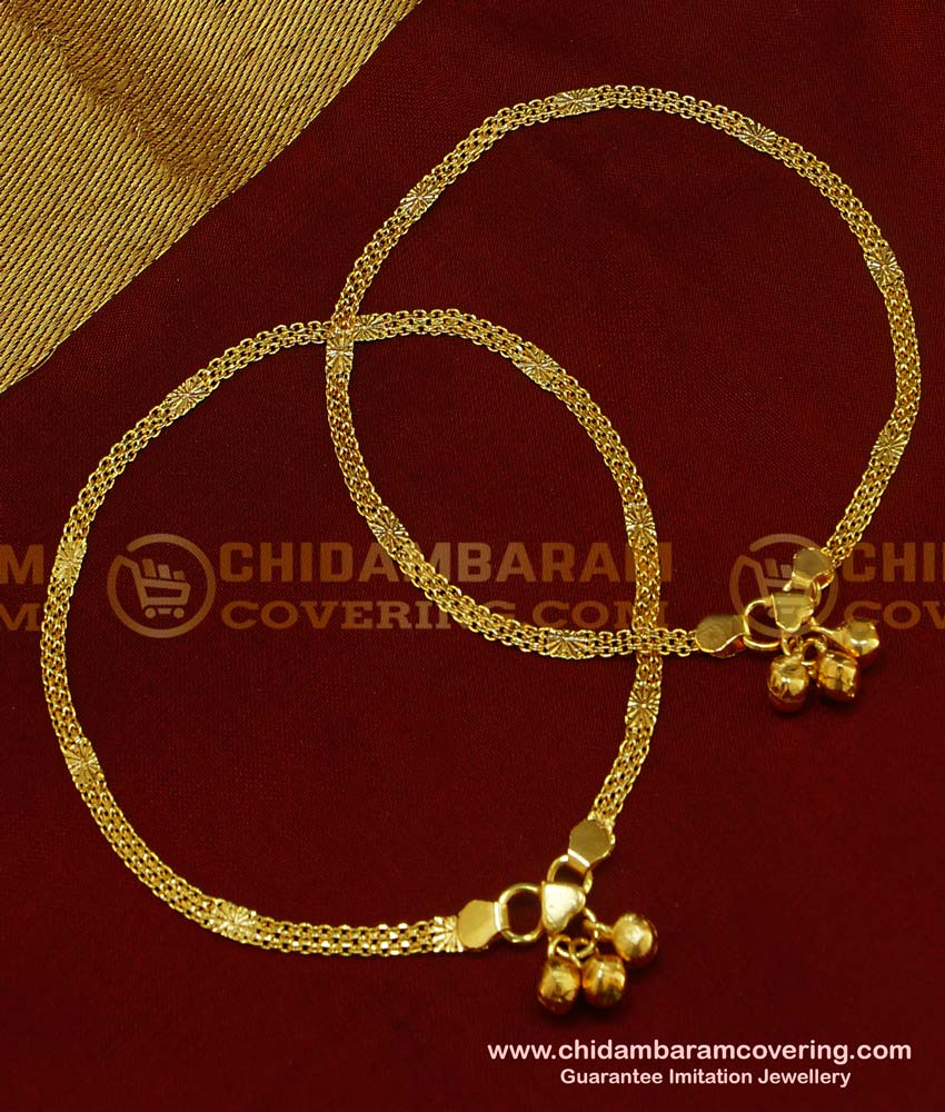 ANK037 - 10.5 Inch 1 Gm Gold Plated Simple Chain Design Office Wear Anklet Design for Ladies