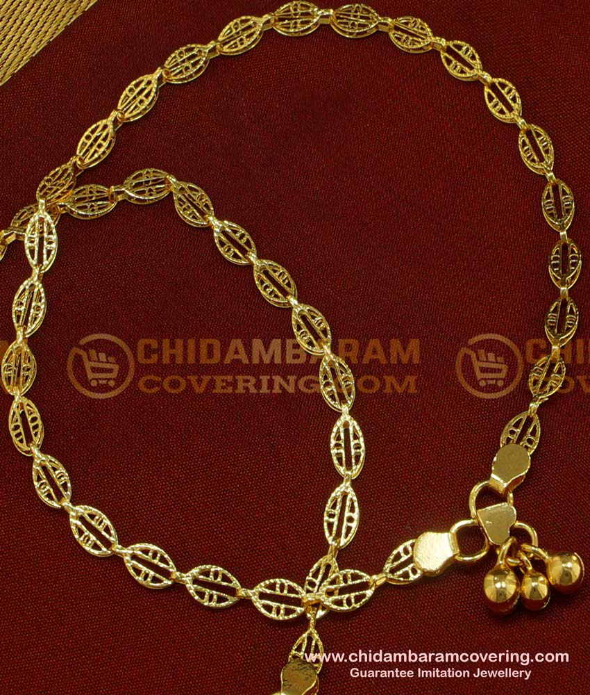 ANK038 - 10.5 Inch Fashionable Designer Gold Design Bridal Anklet Collections Gold Plated Jewelry