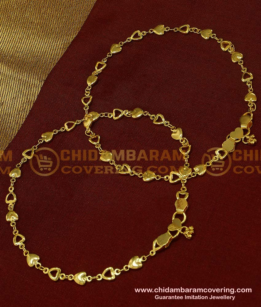 ANK045 - 11.5 Inch New Payal Heart Design Gold Plated Designer Anklet Collection Online