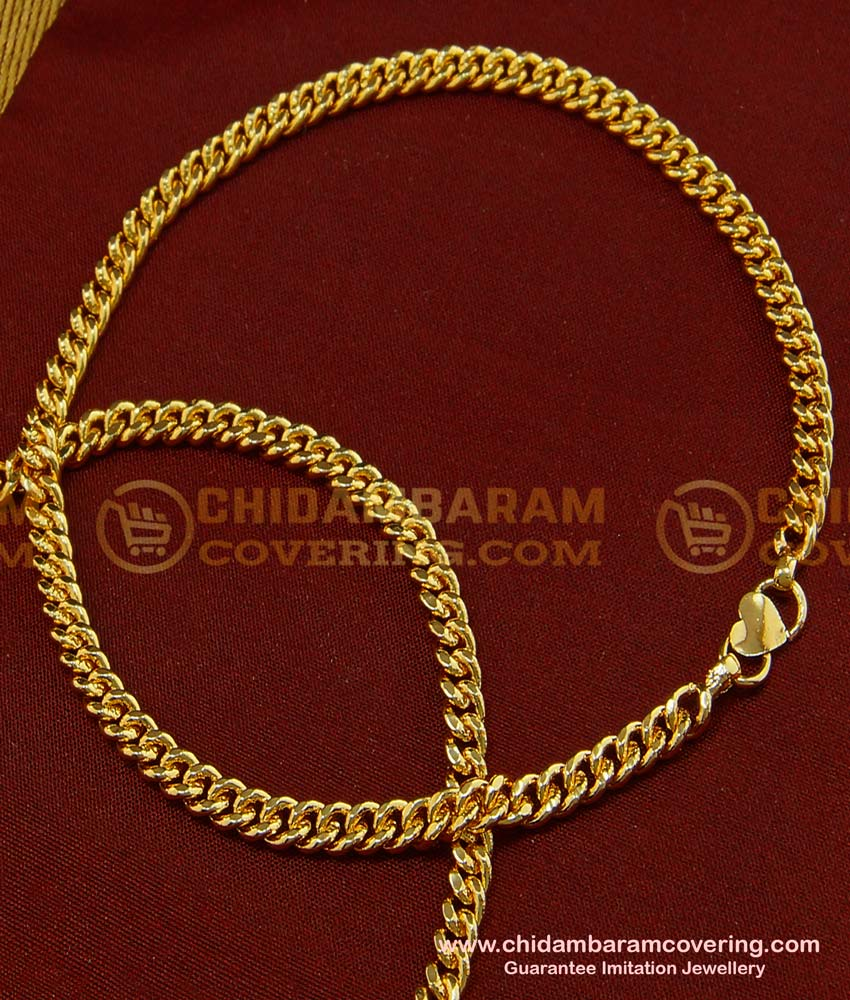 ANK052 - 9 Inches One Gram Gold Plated Thick Gold Chain Anklet Padasaram Design Buy Online