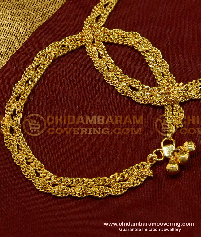 ANK054 - 9 Inch Bridal Wear Grand Look Broad Payal Double Chain Design Gold Anklet Design Indian Jewellery