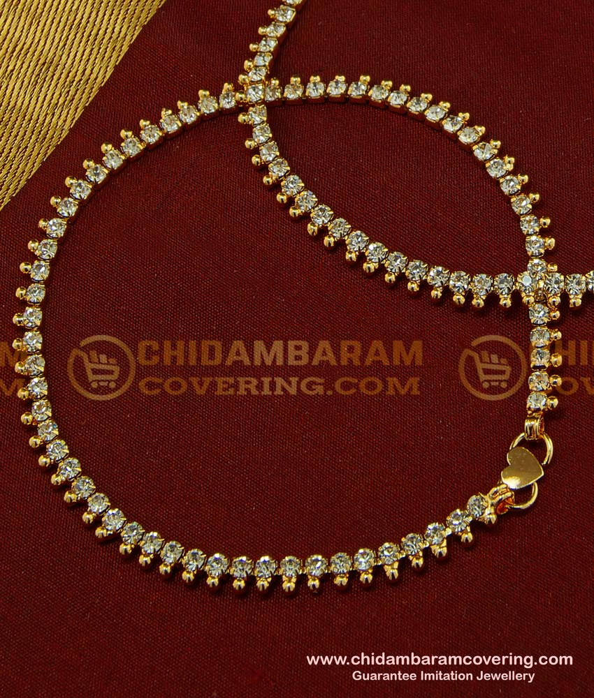 ANK055 - 9.5 Inch Modern White Stone Fancy Anklet Design Gold Plated Dulhan Payal Online