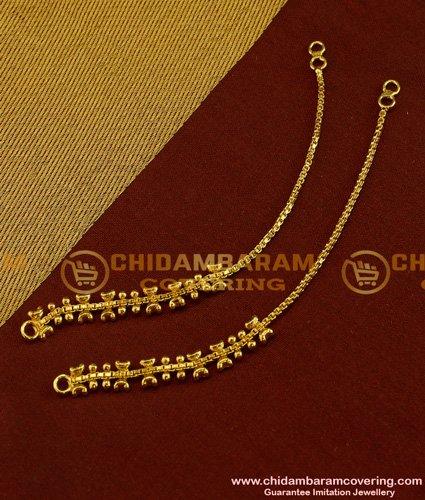 MAT20 - One Gram Gold Ear Side Chain Guarantee Jewellery Matilu For Earring