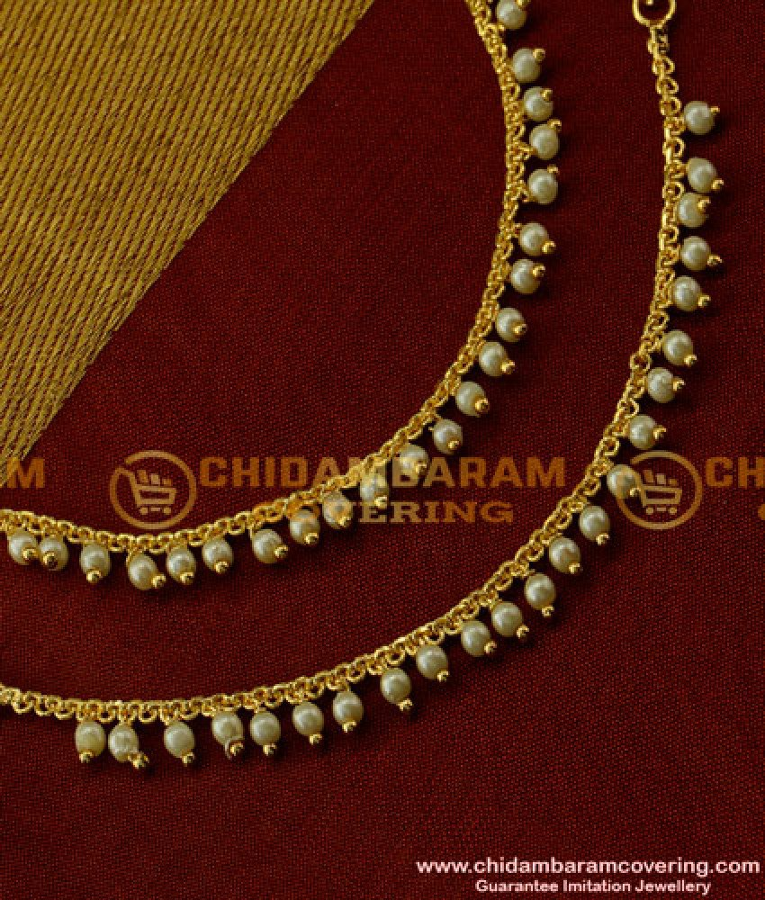 MAT23 - Latest Pearl Champaswaralu Design Hook Type Mattal South Indian Jewellery Online