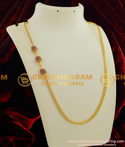 MCHN045 - South Indian Fashion Jewellery Mogappu Chain with Full Ruby Stone Cylinder Shaped Balls