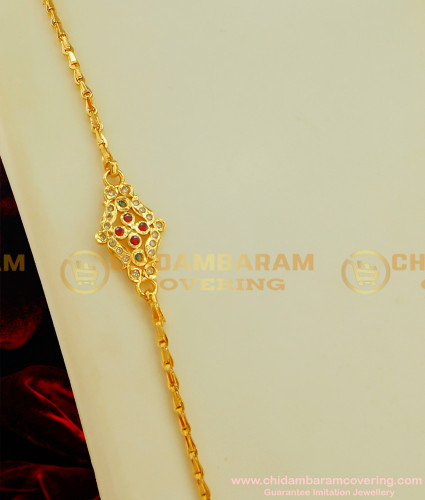 MCHN070 - 1 Gram Gold Stone Side Pendant Mopu Design with Wheat Chain Online
