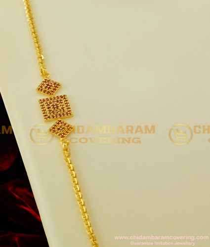 MCHN074 - Latest Gold Plated Full Ruby Stone Mogappu Chain Design Low Price Online