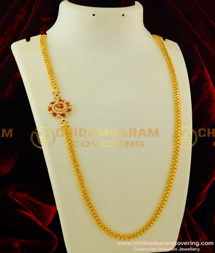 MCHN096 - South Indian Gold Plated Red and White Stone Side Mugappu Designer Chain Online