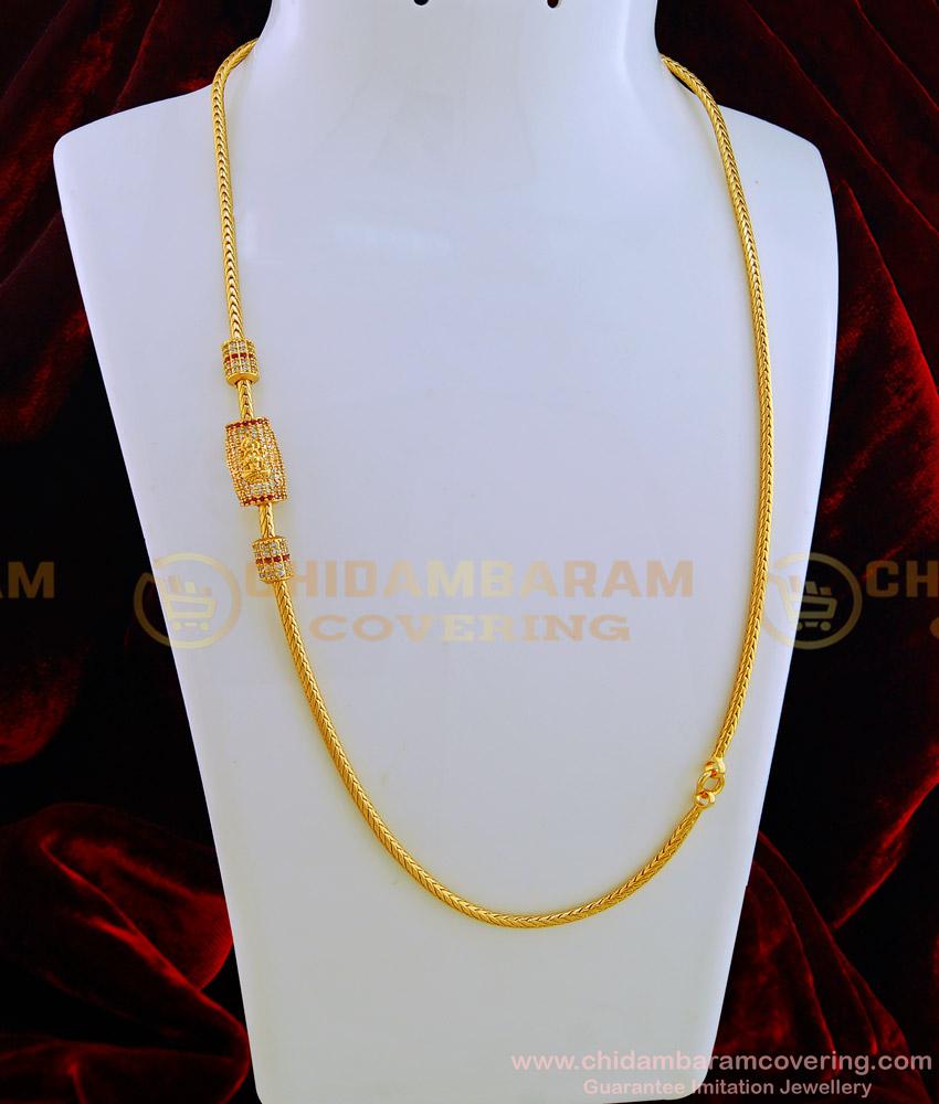 MCHN279-LG- 30 Inches New Model Ad Stone Lakshmi Design Side Pendant Guaranteed Thali Chain with Mugappu Designs Online