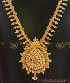 NLC001 - Latest Gold Plated Kerala Design Sparkling White CZ Stone Necklace South Indian Guarantee Jewelry