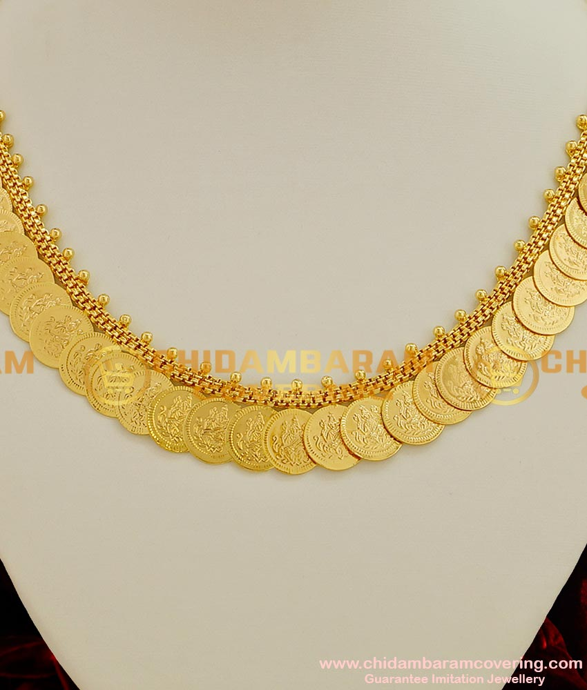 NLC012 - Gold Plated Lakshmi Kasu Malai Design Plain Necklace