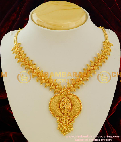 NLC028 – Peacock Feather Design Short Necklace Latest Trendy Jewellery Online