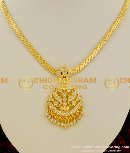 NLC032 - White AD Stones Design Thick Metal Aiympon Attigai Traditional Gold Plated Jewelry
