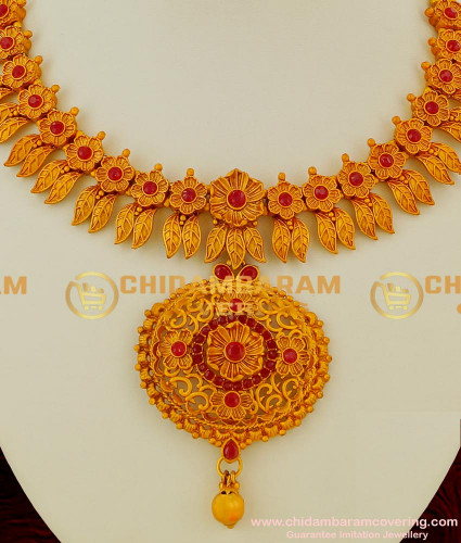 NLC042 – Flower with Leaf Design Antique Matte Necklace with Jhumka Earrings Buy Online