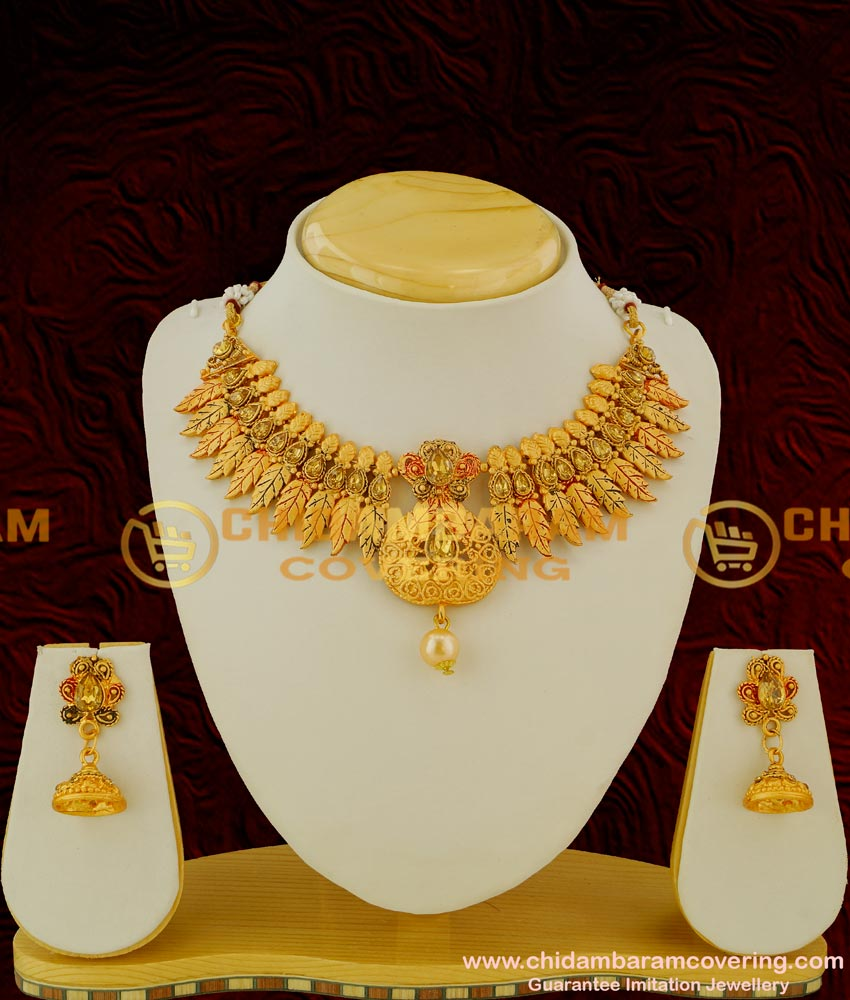 Buy Rose Gold Plated Matte Finish Necklace With Earrings Set Cheap Cost Necklace Online