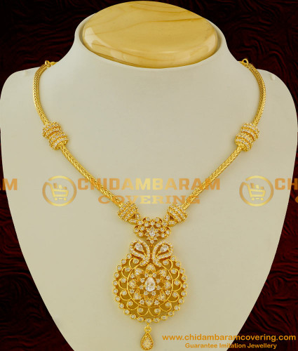 NLC049 - Diamond Finish AD White Stone Necklace Onam Special Collection Buy Online