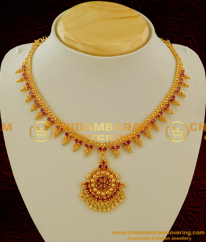 NLC062 - South Indian Style Semi Precious First Quality Ruby Stone Necklace