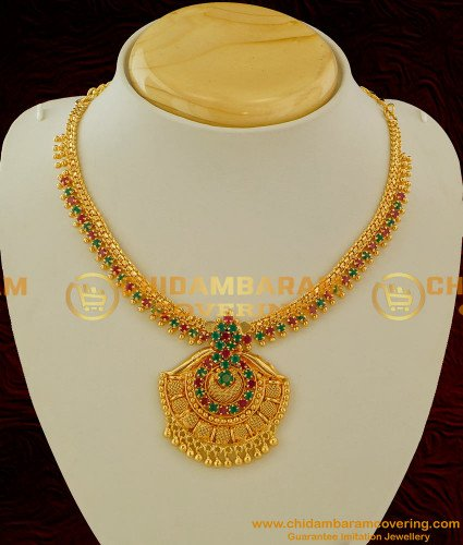NLC063 - Party Wear Semi Precious First Quality Ruby Emerald Stone Necklace