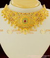 NLC076 - Grand Gold Plated Bridal Wear Full Multi Stone Choker Necklace with Jhumka Earing Set Online