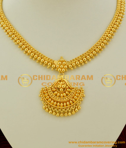 NLC080 - Classical Attigai Style Full Golden Balls and Beads Necklace Design Online Shopping