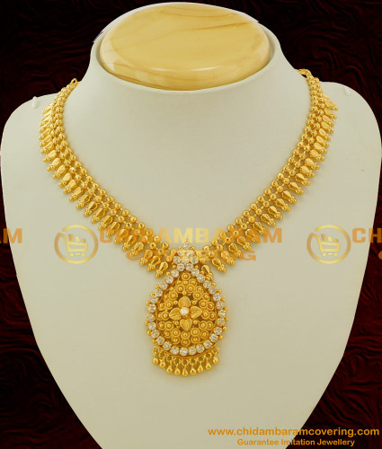 NLC082 - Grand Look 1 Gm Gold Plated Flower Petal Pendant with white Stone Online Shopping