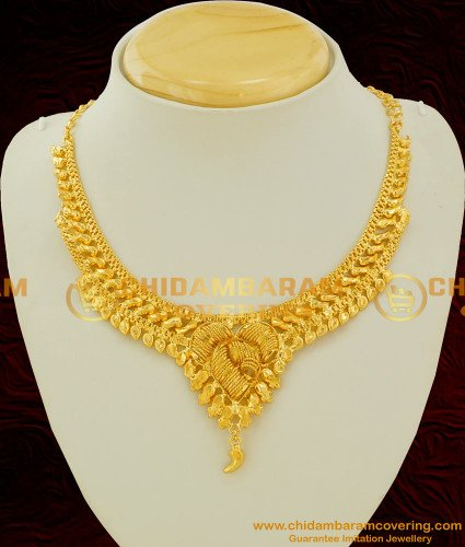 NLC083 - Gold Inspired Chidambaram Necklace with Spiral Spring Design Pendant On The Middle Online Shopping