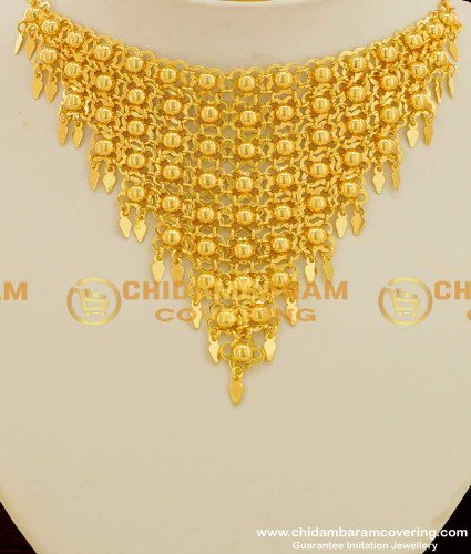 NLC106 - Shiny Hanging Net Necklace Design Indian Bridal Jewelry