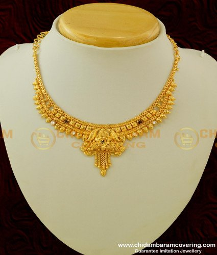 NLC164 - Traditional Style Medium Size Stone Necklace Design Online Shopping