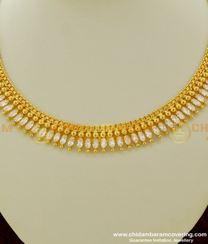 NLC181 - Unique Style Party Wear Single Line White CZ Stone Necklace for Girls
