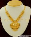 NLC186 - Leaf Design multi stone and Hanging Golden Beads Pendant Necklace