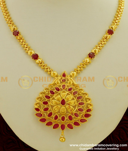 NLC208 - New Model Ruby Stone Latest Gold Design Necklace for Wedding