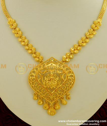 NLC210 - Real Gold Look Design Lakshmi Pendant Without Stone Guarantee Necklace Online