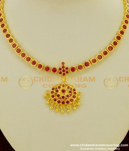 NLC212 - Traditional Full Red Stone Flower Design Attigai High Quality Necklace Online
