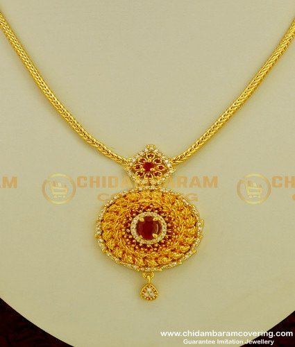 NLC214 - Elegant Look Gold Plated Round Stone Pendant Short Chain Necklace Design Online