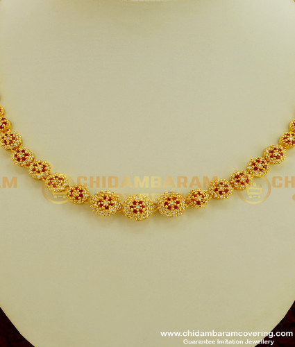 NLC218 - Rich Look Party Wear High Quality Stone Single Line Necklace for Girls