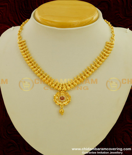 NLC223 - New Model Stunning Gold Simple Design Stone Necklace for Women