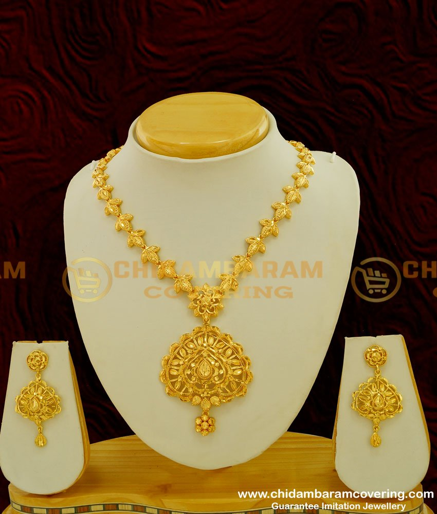 NLC230 - New Pattern Stunning Gold Necklace Design with Earring Set Buy Online