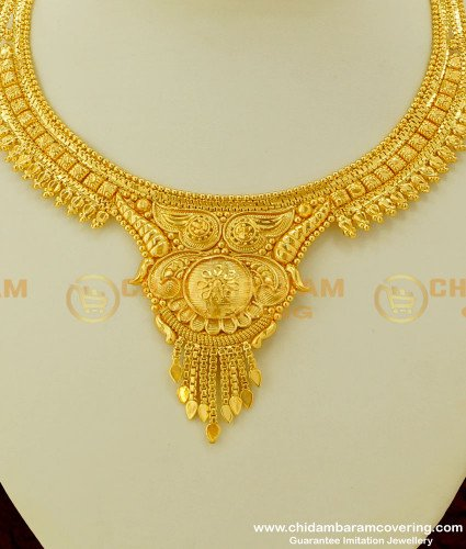 NLC235 - Traditional Gold Design Necklace Indian Bridal Jewelry Online