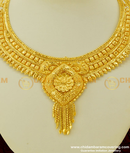 NLC237 - Grand Look Bridal Wear Gold Plated Necklace Design Buy Online