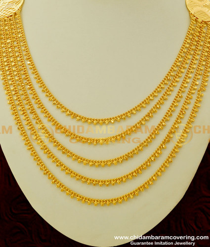 NLC241 - Gorgeous Gold Look Multi Layer Chain Necklace Collections Buy Online