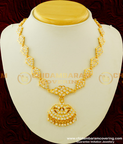 NLC256 - Impon Full White Ad Stone Flower Design Bridal Attigai Necklace Thick Metal Jewellery Online