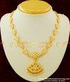 NLC257 - Bridal Wear Thick Metal Full White Stone Gold Design Impon Attigai Necklace for Wedding