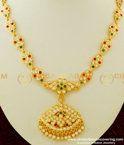 NLC258 - Beautiful First Quality Multi Stone Look Like Gold Design Impon Attigai Necklace Buy Online